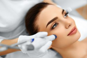 woman getting microdermabrasion service