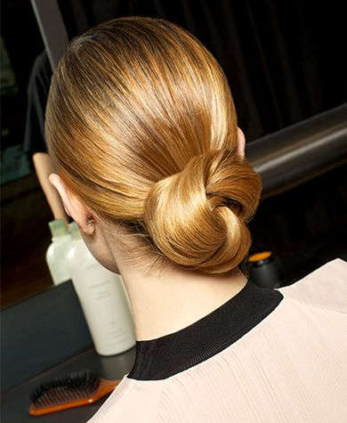 woman with sleek low bun